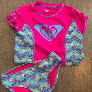Girls Roxy bathing suite with rash guard